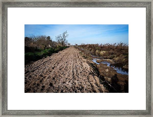 View Of Plowed Field Against Sky Framed Print by Andres Ruffo / EyeEm