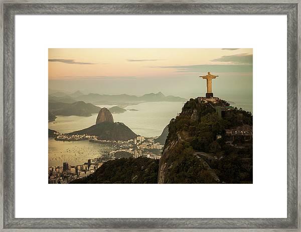 View Of Rio De Janeiro At Dusk Framed Print