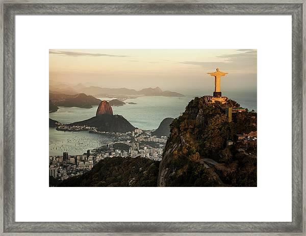 View Of Rio De Janeiro At Sunset Framed Print
