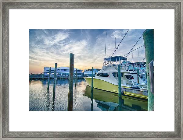 View Of Sportfishing Boats At Marina Framed Print