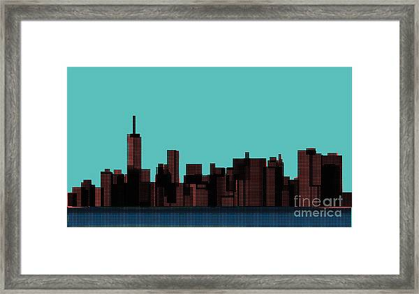 View Of The Manhattan In The Pop Art Framed Print by Finlandi
