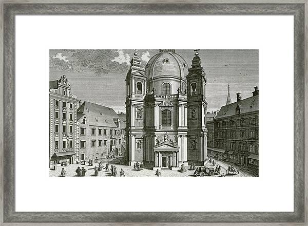 View Of The Peterskirche, Vienna Engraved By Johann Bernard Hattinger Framed Print