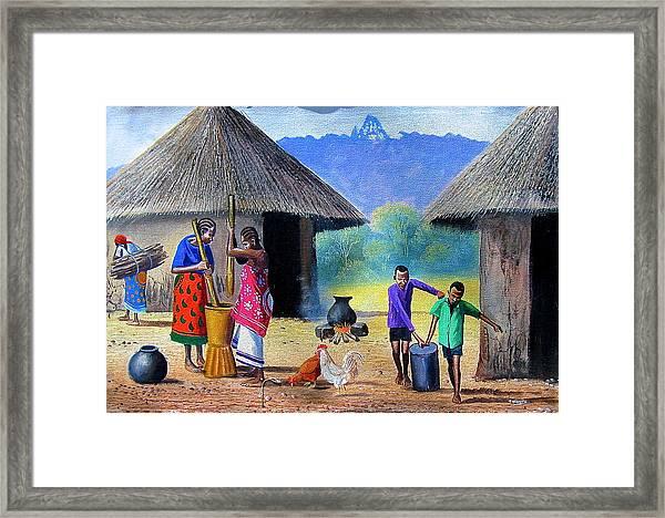 Village Chores Framed Print