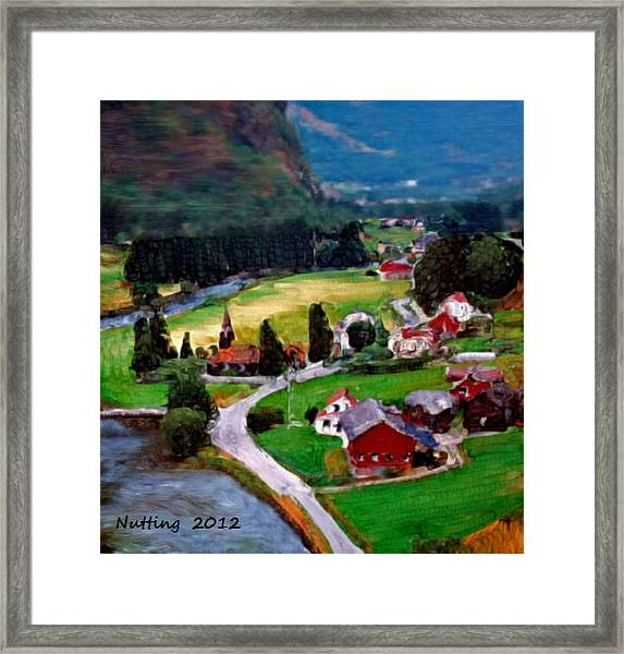 Village In The Mountains Framed Print
