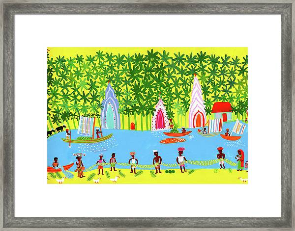 Village Life Fishing And Trading On A Framed Print