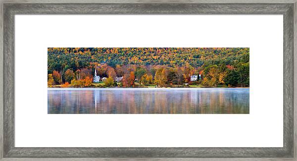 Village On Crystal Lake Autumn  Framed Print