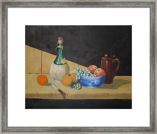 Vino And Fruit Framed Print