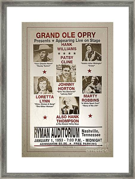 Vintage 1953 Grand Ole Opry Poster With Border Framed Print