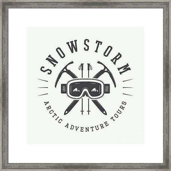 Vintage Arctic Mountaineering Logo Framed Print
