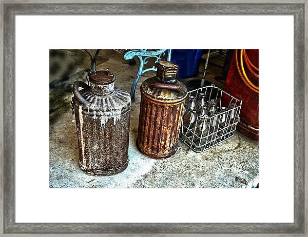 Hdr Vintage Art  Cans And Bottles Framed Print