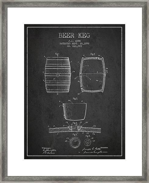 Vintage Beer Keg Patent Drawing From 1898 - Dark Framed Print