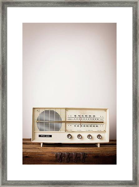 Vintage Beige Radio Sitting On Wood Framed Print