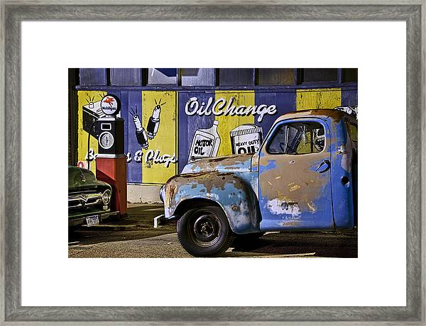 Vintage Blue Pickup And Gas Station Near Bisbee Az Framed Print