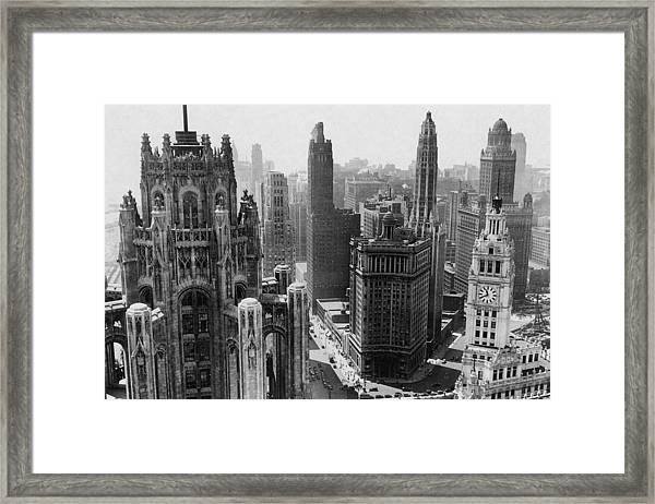 Vintage Chicago Skyline Framed Print