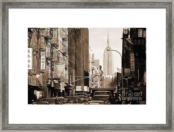 Vintage Chinatown And Empire State Framed Print