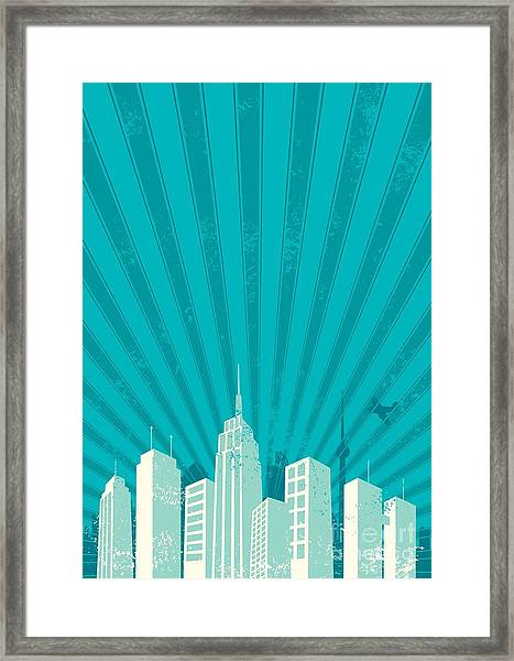 Vintage City Background. A4 Proportions Framed Print