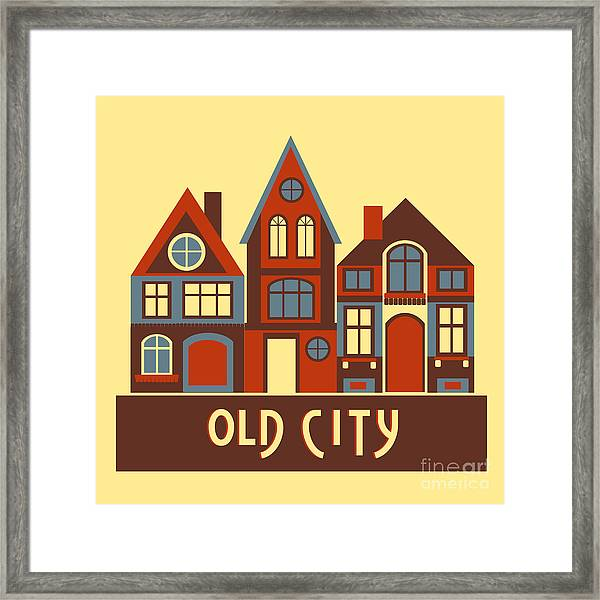 Vintage City Houses On Yellow Background Framed Print by Okhristy