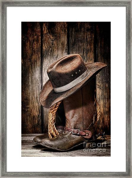 Vintage Cowboy Boots Framed Print
