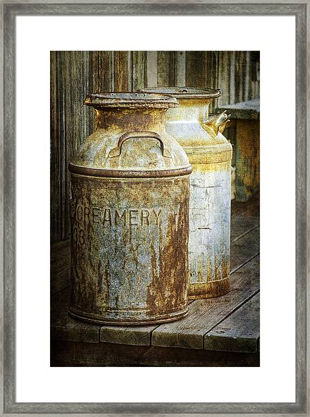 Vintage Creamery Cans In 1880 Town In South Dakota Framed Print