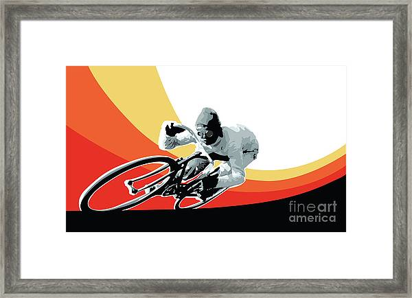 Vintage Cyclist With Colored Swoosh Poster Print Speed Demon Framed Print