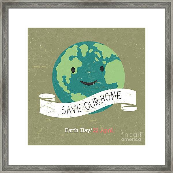 Vintage Earth Day Poster. Cartoon Earth Framed Print by Pashabo