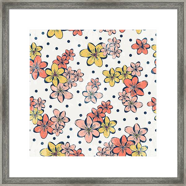 Vintage Flower Pattern Print For Framed Print