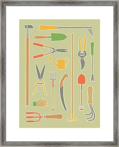 Vintage Garden Tools Framed Print