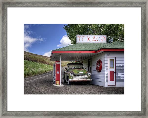 Vintage Gas Station - Chevy Pick-up Framed Print