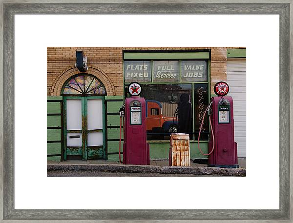 Vintage Gas Station Day Time Framed Print
