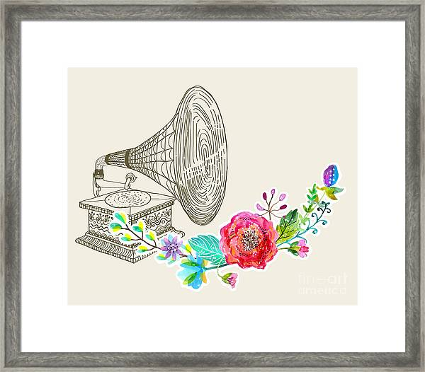Vintage Gramophone, Record Player Framed Print
