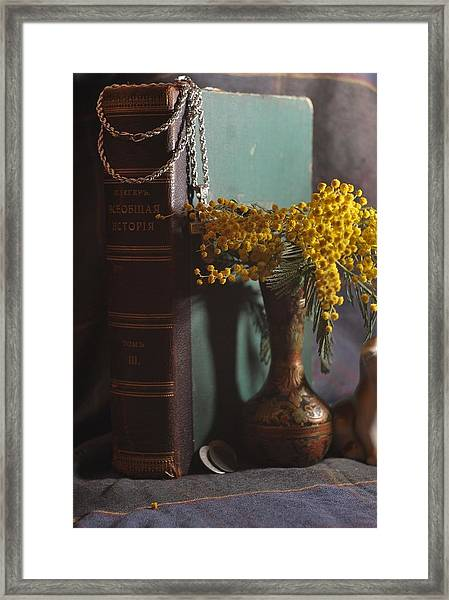 Vintage Group With An Old Book And Mimosa   Framed Print