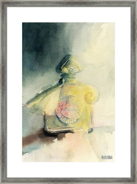 Vintage Guerlain Mitsouko Perfume Bottle Framed Print by Beverly Brown