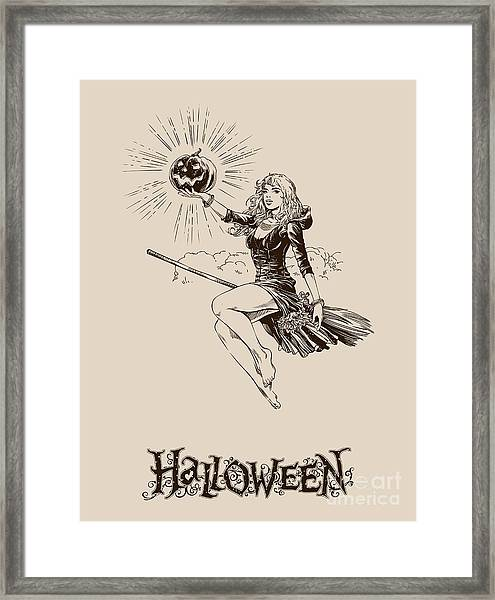 Vintage Halloween Illustration Framed Print