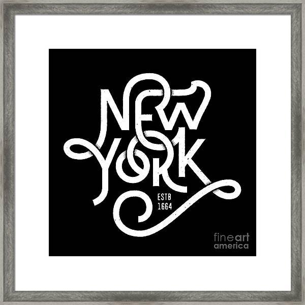 Vintage Hand Lettered Textured New York Framed Print