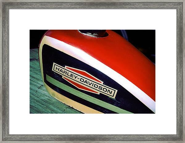 Vintage Harley Davidson Gas Tank Framed Print