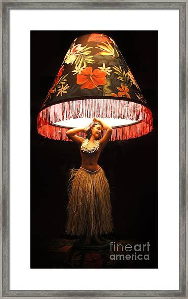 Vintage Hula Girl Lamp Framed Print