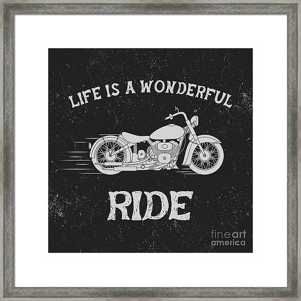 Vintage Label With Motorcycle .vintage Framed Print by Dimonika