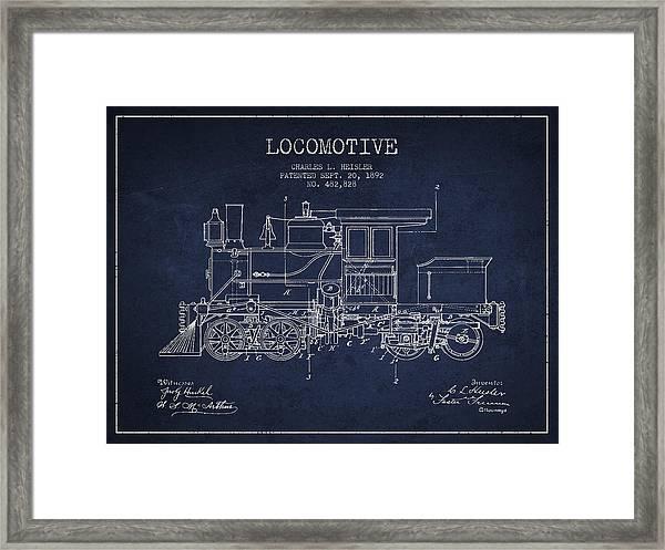 Vintage Locomotive Patent From 1892 Framed Print