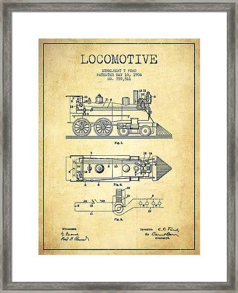 Vintage Locomotive Patent From 1904 - Vintage Framed Print