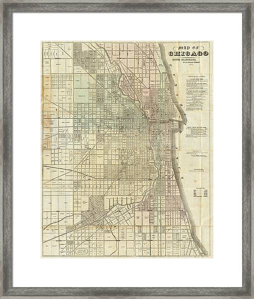 Vintage Map Of Chicago - 1857 Framed Print