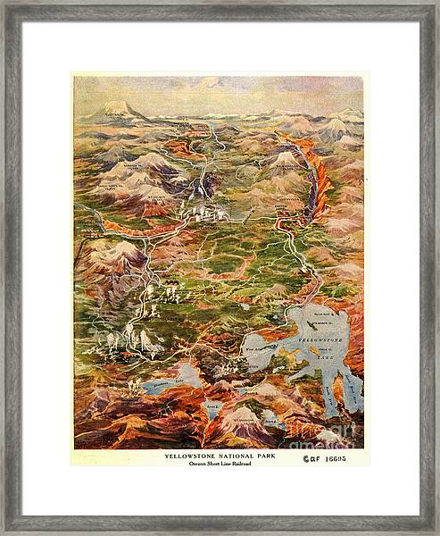 Vintage Map Of Yellowstone National Park Framed Print