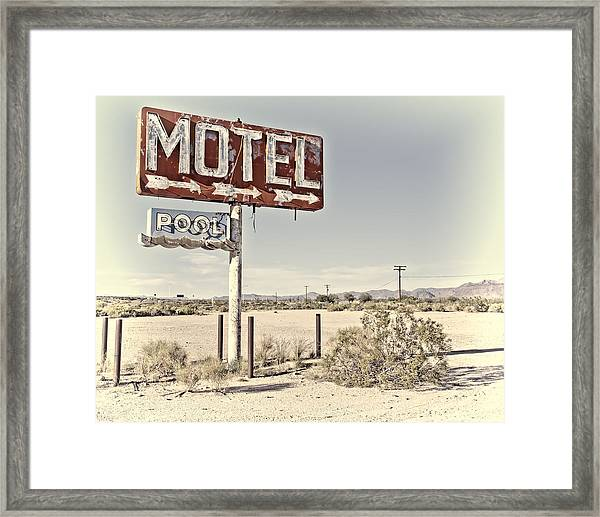 Vintage Motel Pool Sign Framed Print