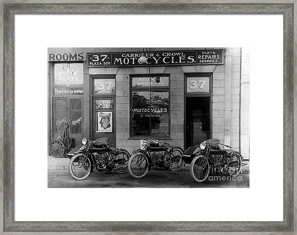 Vintage Motorcycle Dealership Framed Print