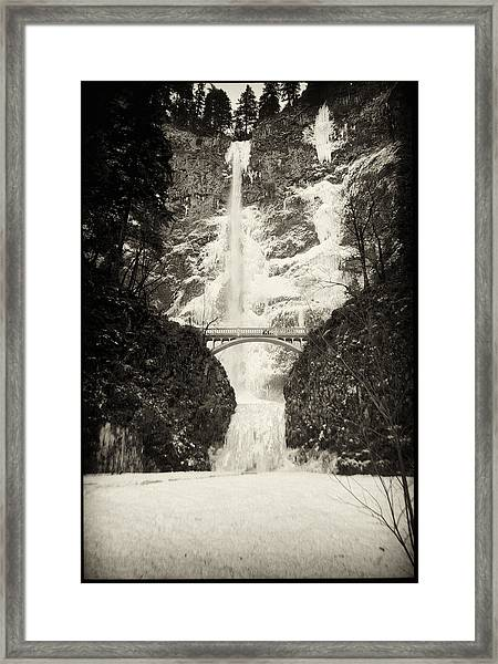 Vintage Multnomah Falls Framed Print