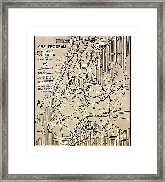 Vintage Newspaper Map Framed Print