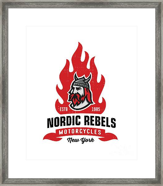 Vintage Nordic Rebels Motorcycles Framed Print