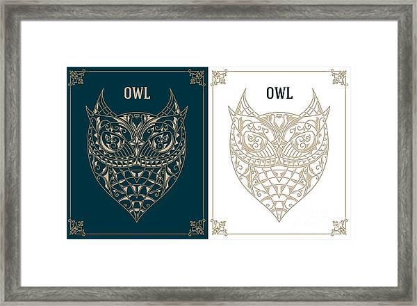 Vintage Owl. Retro Vector Design Framed Print