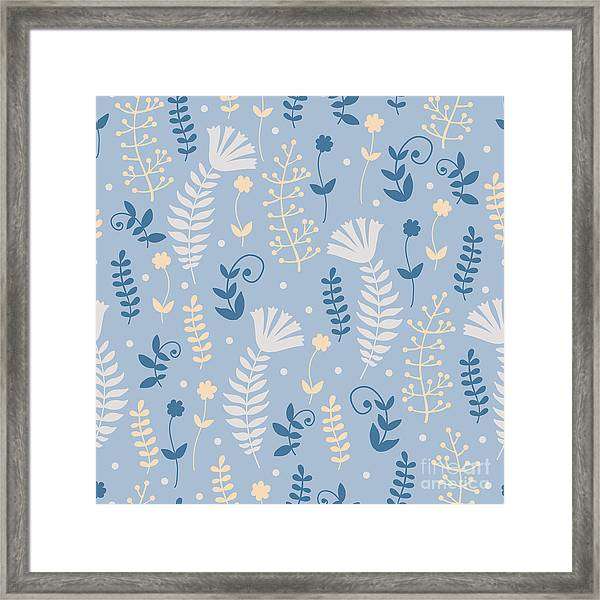 Vintage Pattern With Floral Motifs Framed Print