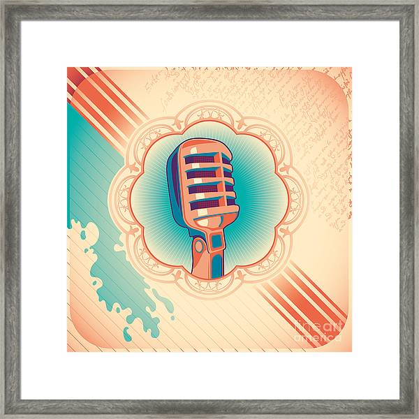 Vintage Poster With Microphone. Vector Framed Print
