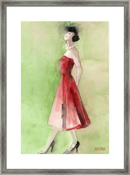 Vintage Red Cocktail Dress Fashion Illustration Art Print Framed Print